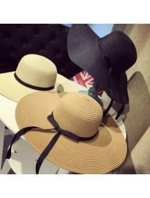 HO2527W -  Topi Pantai Sun Beach Hat Long Bow Foldable