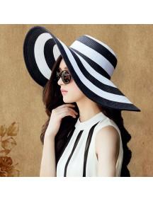 HO2528W -  Topi Pantai Sun Beach Hat Big Stripe