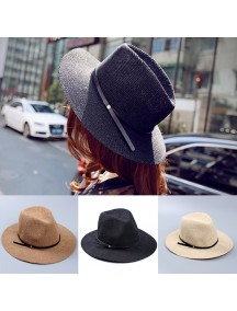 HO2530W -  Topi Pantai Unisex Sun Beach Straw Belt Hat