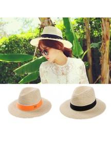 HO2534W - Topi Pantai Korean Straw Beach Hat