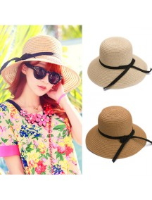 HO2535W - Topi Pantai Korean Straw Bow Hat
