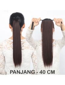 HO3345W - Hair Clip Ponytail Kuncir Panjang Lurus 40 CM
