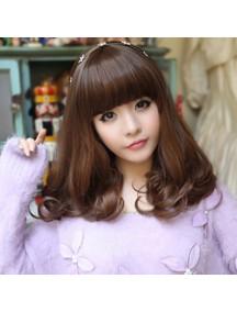 HO3354 - Hair Wig Rambut Palsu Sedang Wavy Poni Depan (Dark Brown)