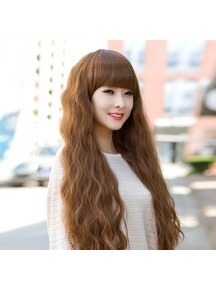 HO3371 - Wig / Rambut Palsu Panjang + Poni (Light Brown)