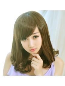 HO3372 - Hair Wig Rambut Palsu Sedang Poni Samping (Light Brown)