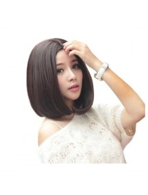 HO3373 - Hair Wig Rambut Palsu Bob Poni Tengah (Dark Brown)