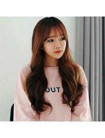 HO3377 - Hair Wig Rambut Palsu Korean Bangs Curly (Dark Brown)