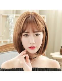HO3379 - Hair Wig Rambut Palsu Bob Korean Bangs (Light Brown)