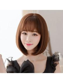 HO3381 - Hair Wig Rambut Palsu Bob Korean Bangs (Dark Brown)