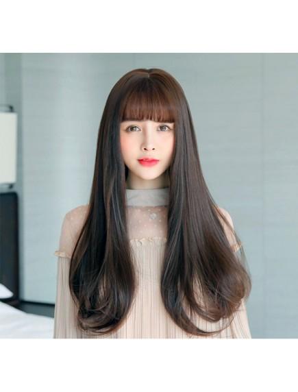 HO3407- Hair Wig / Rambut Palsu Panjang Natural (Dark Brown)