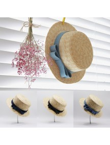 HO3441W - Topi Pantai Korean Straw Jeans Bow Beach Hat