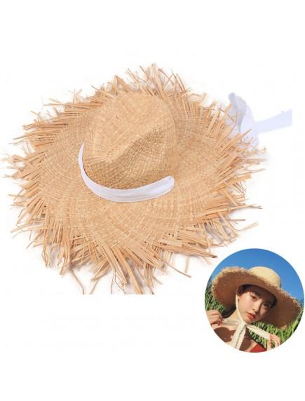 HO3444 - Topi Pantai Straw Brim White Bow Beach Hat