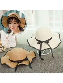 HO3445W - Topi Pantai Straw Wave Brim Bow Beach Hat