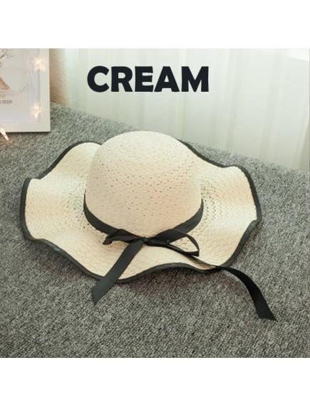 HO3445W - Topi Pantai Straw Wave Brim Bow Beach Hat