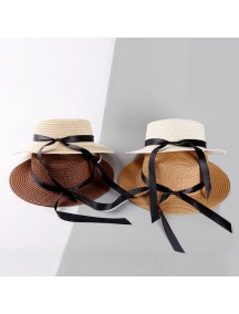 HO3446W - Topi Pantai Straw Long Bow Beach Hat