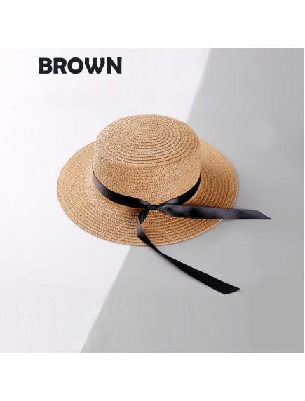 HO3446W - Topi Pantai Straw Long Bow Beach Hat
