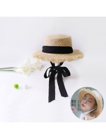 HO3448 - Topi Pantai Straw Brim Black Bow Beach Hat