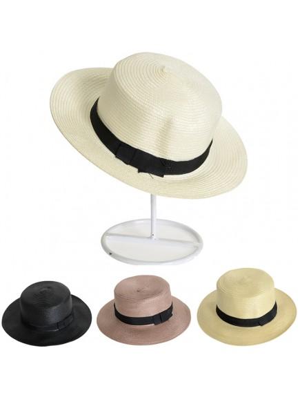 HO3450W - Topi Pantai Straw Bow Knot Beach Hat