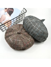 HO3451W - Topi Beret Pelukis Plaid Painter Hat