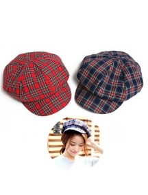 HO3452W - Topi Beret Pelukis Newsboy Plaid Painter Hat
