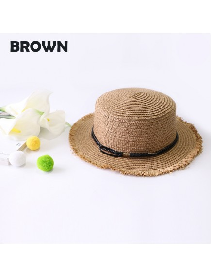 HO3455W - Topi Pantai Brim Bow Belt Straw Beach Hat