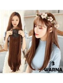 HO3465W - Hair Clip Wig / Ekstension Rambut Korea Panjang Natural