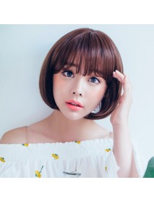 HO3466 - Hair Wig / Rambut Palsu Pendek Natural (Dark Brown)