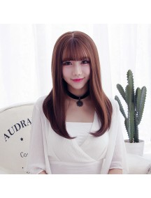 HO3469 - Hair Wig / Rambut Palsu Korea Sedang Natural (Dark Brown)