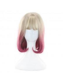 HO3471 - Hair Wig / Rambut Palsu Sedang Cosplay Blonde Pink
