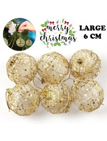 HO3475 - Dekorasi Ornament Christmas Bola Natal Hollow Gold 6pc Set (Large)