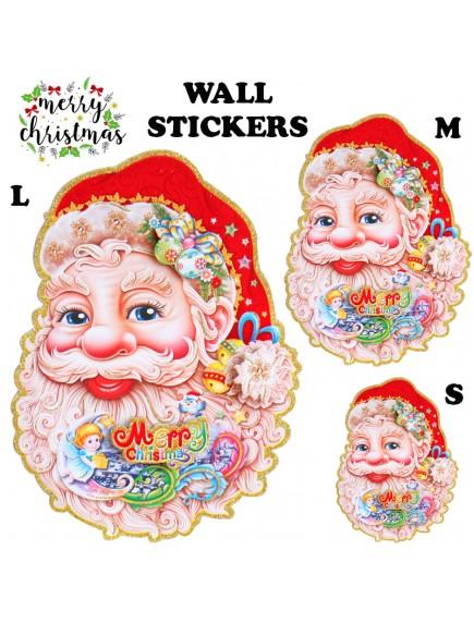 HO3478 - Dekorasi Dinding Christmas Santa Claus Sticker Dinding 2 pc Set (Medium)