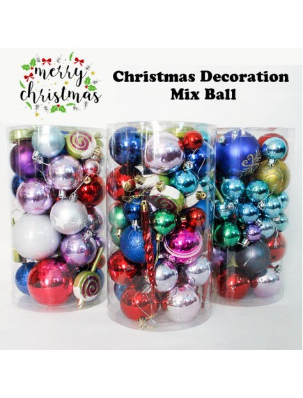HO3480 - Dekorasi Ornament Christmas Bola Mix Set (Random)