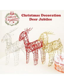 HO3481W - Dekorasi Ornament Ruangan Christmas Deer Hollow Jubilee