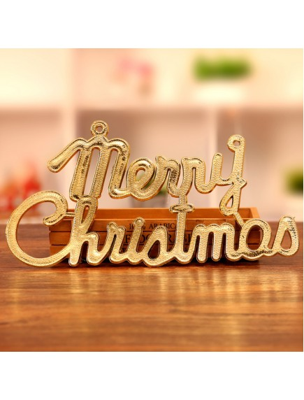 "HO3499 - Christmas Ornament Gold Tulisan ""Merry Christmas"" (10 cm)"