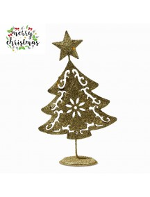 HO5371 - Christmas Decoration Gold Glitter Iron Table Tree Type 1
