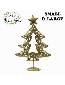 HO5373 - Christmas Decoration Gold Glitter Iron Table Tree Type 2 (Large)