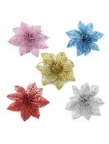 HO5404W - Dekorasi Bunga Artificial Glitter Natal