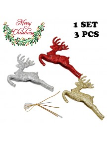 HO5406 - Christmas Ornament Flying Elk Tree Decoration 3pc