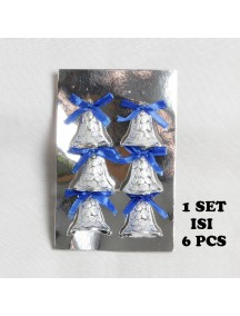 HO5411 - Christmas Decoration Tree Ornament Silver Bell Set (6pc)