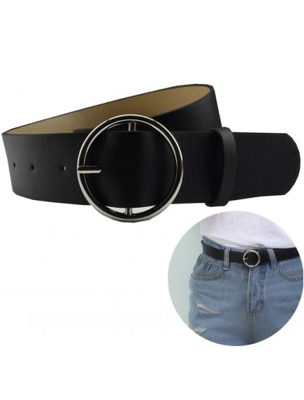 HO5418 - Tali Pinggang Round Belt Harajuku Black (Silver Buckle)