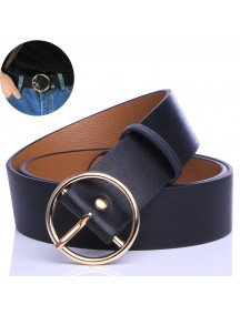 HO5419 - Tali Pinggang Round Belt Harajuku Black (Gold Buckle)