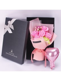 HO5423W - Valentine's Day Rose Soap Flower Bouquet Sabun & Balon