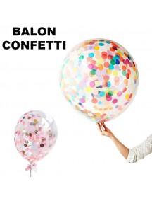 "HO5429W - Transparan Balloon Sequin Confetti Balon Latex 36"""
