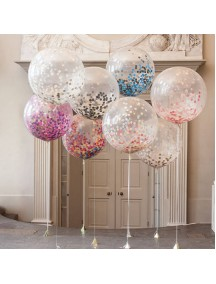 HO5436W - Transparan Balloon Sequin Confetti Balon Latex 18""