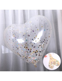 HO5437 - Transparan Balloon Heart Shape Sequin Confetti Balon Latex 36""