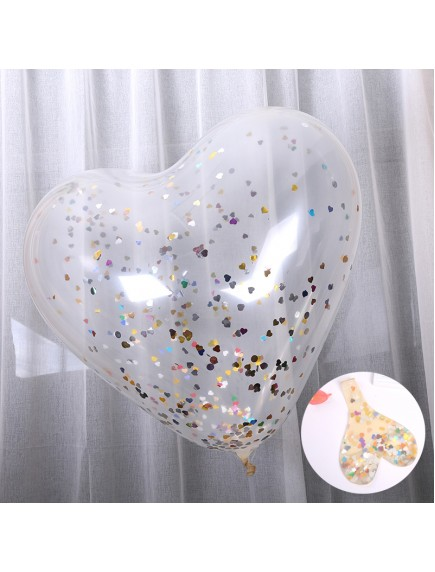 "HO5437 - Transparan Balloon Heart Shape Sequin Confetti Balon Latex 36"""