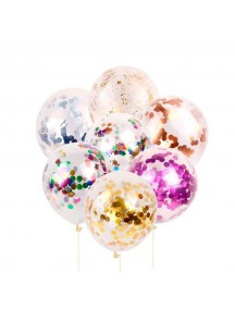 "HO5441W - Transparan Balloon Round Sequin Confetti Latex 12"" Set 5pc"