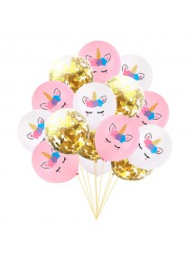 "HO5442W - Balloon Set Unicorn Sequin Confetti Latex 10"" Set 15pc"
