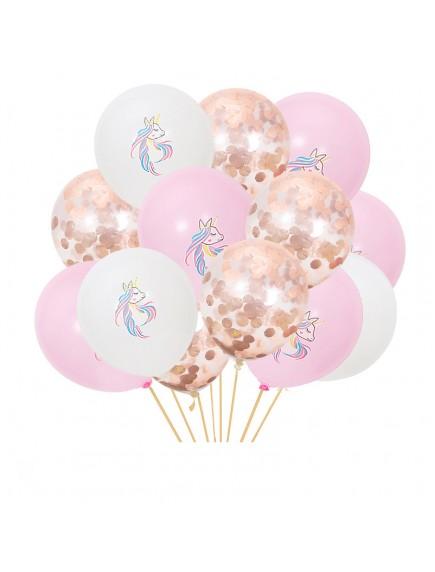 "HO5443W - Balloon Set Pegasus Sequin Confetti Latex 10"" Set 15pc"