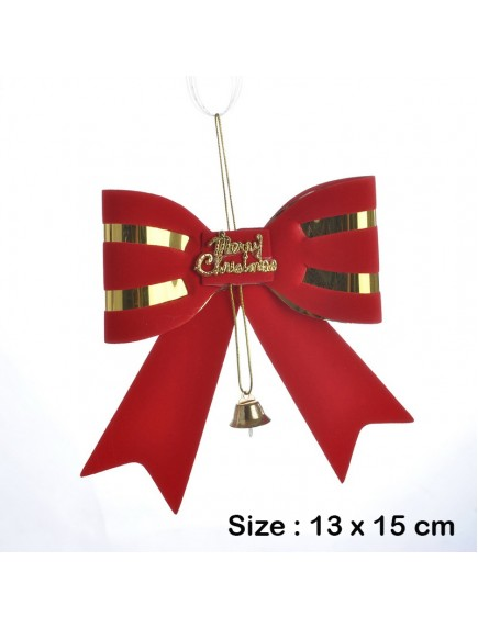HO5458 - Christmas Tree Ornament Natal Red Bow Bell 13 CM